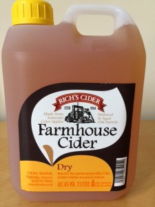 Somerset Scrumpy cider, available in Dry or Medium, and you can bring a container like this for refills in the shop for farm fresh cider!